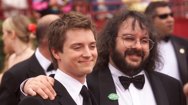 Herec Elijah Wood s Peterem Jacksonem, režisérem Pána Prstenů