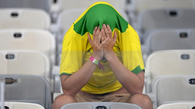 Fanoušek po prohře brazilského týmu s Německem
