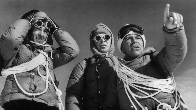 Erich Abram, Lino Lacedelli a Achille Compagnoni