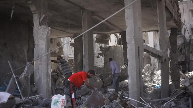 Zdemolovaný dům v pásmu Gazy (Ilustrační snímek)