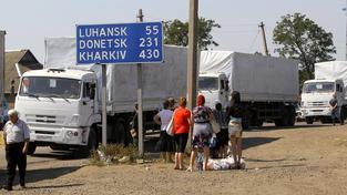 Ruský konvoj s humanitární pomocí při zpáteční cestě