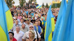 Proukrajinské protesty v Mariupolu