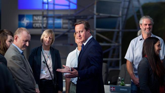Britský premiér David Cameron v Newportu
