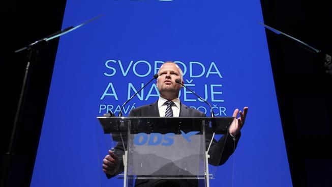Předseda ODS Petr Fiala řeční na 25. kongresu