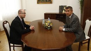 Premiér Bohuslav Sobotka a ministr financí Andrej Babiš
