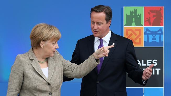 Německá kancléřka Angela Merkelová s britským premiérem Davidem Cameronem