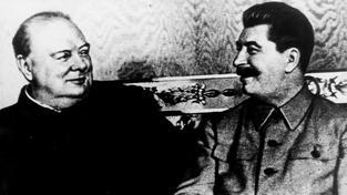 Churchill a Stalin, dobový snímek