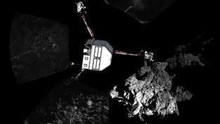 Panoramatický snímek přistání sondy na kometě