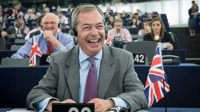 Lídr UKIP, europoslanec Nigel Farage