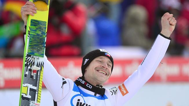 Roman Koudelka se raduje ze vůbec prvního vítězství ve Světovém poháru