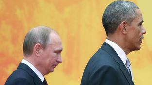Ruský prezident Vladimir Putin a šéf Bílého domu Brack Obama na summitu APEC