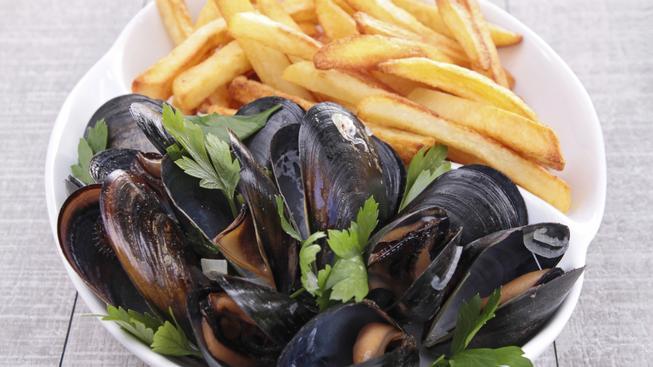 Hranolky a slávky - belgické národní jídlo