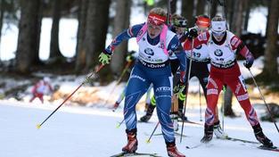 Gabriela Soukalová při závodu s hromadným startem ve slovinské Pokljuce