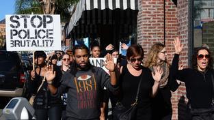 Zastřelení černošského mladíka Michaela Browna vyvolalo protesty nejen ve Fergusonu (snímek z Los Angeles ze 13. prosince).