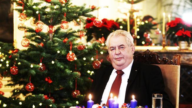 Miloš Zeman při pronášení vánočního poselství