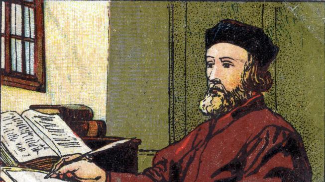 Mistr Jan Hus na barevné litografii z roku 1936