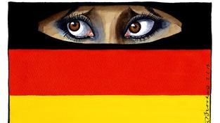 Antiislámské nálady panují nejen v Bavorsku, rostou po celém Německu. Kresba pro obálku The Times/News Syndication