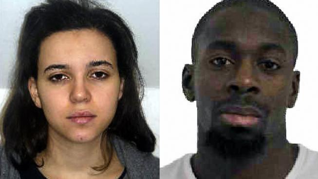 Hayat Boumeddieneová a Amedy Coulibaly, dvojice podezřelá z útoku na policistku. Právě Coulibaly zřejmě obsadil košer potraviny