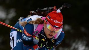 Gabriela Soukalová během závodu v německém Oberhofu