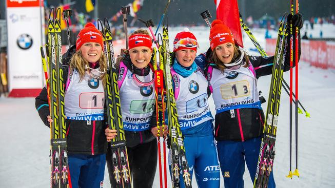 Česká štafeta, která vyhrála závod Světového poháru v Ruhpoldingu