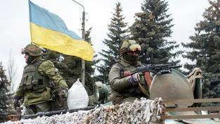 Ukrajinští vojáci ve východoukrajinském Debalcevu