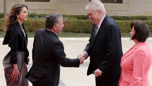 Český prezidenstký pár přivítal král Abdalláh II. s chotí