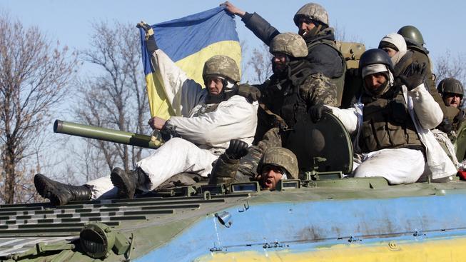 Ukrajinští vojáci při stažení z Debalceva