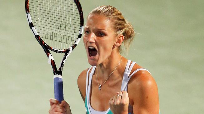 Karolína Plíšková se raduje z postupu do finále turnaje v Dubaji
