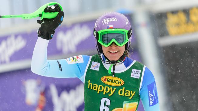 Šárka Strachová po slalomu v Mariboru
