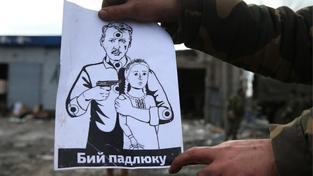 Propagační leták nalezený v Debalcevu po odchodu ukrajinských vojsk