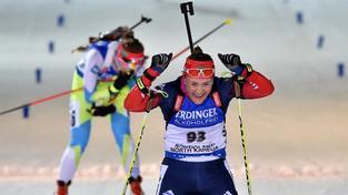 Závod vyhrála neznámá ruská závodnice Jekatěrina Jurlovová (v popředí)