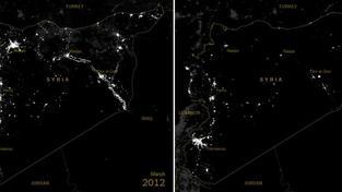 Satelitní snímek z března 2011 versus ten samý záběr z prosince 2014
