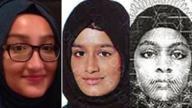 Zleva Kadiza Sultanaová, Shamima Begumová a Amira Abaseová