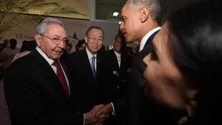 Raúl Castro a Barack Obama si potřásli rukou