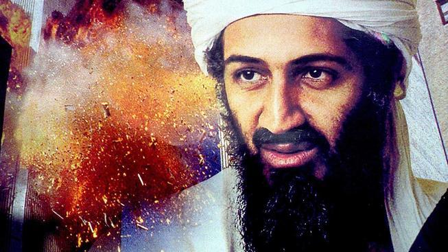"""Bin Ládin s """"dvojčaty"""" v pozadí na propagandistickém letáku"""