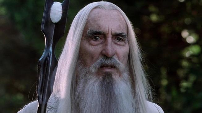 Christopher Lee v ikonické roli Sarumana