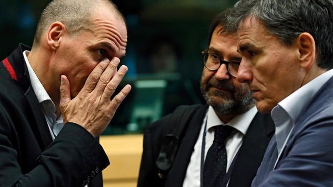 Řecký ministr financí Varoufakis na jednání s unijními kolegy v Bruselu