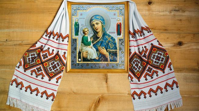 Ikona v klášteře v odkarpatské rusi