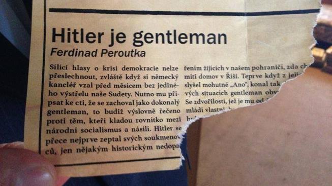 """Útržek """"Peroutkova článku"""" zveřejněného na profilu Prahy 10"""