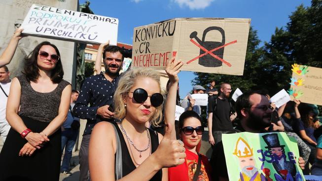 Demonstrace na podporu uprchlíků (ilustrační snímek)