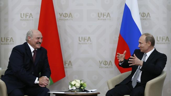 Alexandr Lukašenko na jednání s Vladimirem Putinem