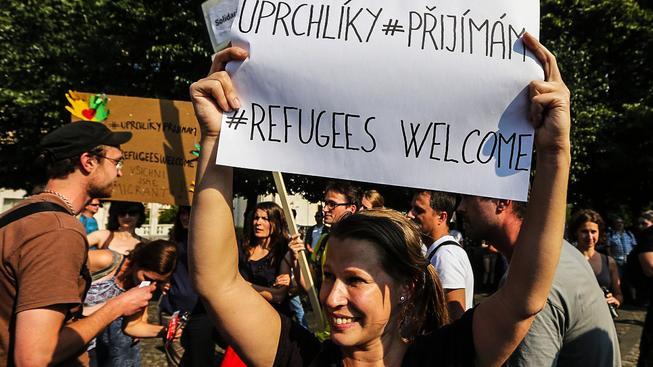 Demonstrace na podporu uprchlíků. Ilustrační snímek