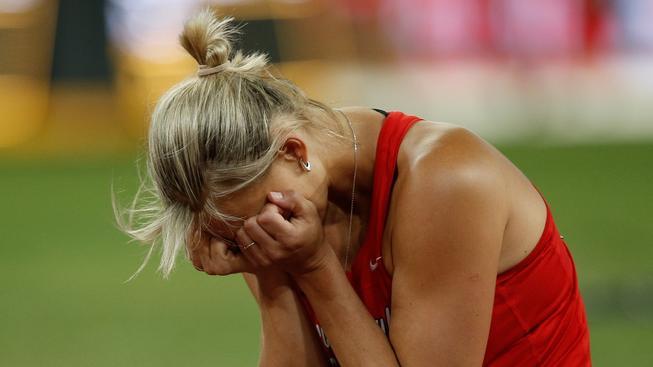 Barbora Špotáková během finále ženského oštěpu