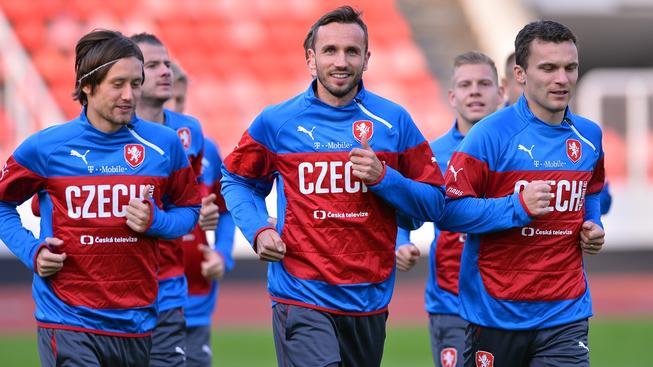 Tomáš Sivok na tréninku české fotbalové reprezentace