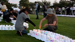 Lidé z města Naraha si připomínali oběti tragédie ve Fukušimě
