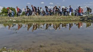 Uprchlíci na řecko-makedonských hranicích. Ilustrační snímek