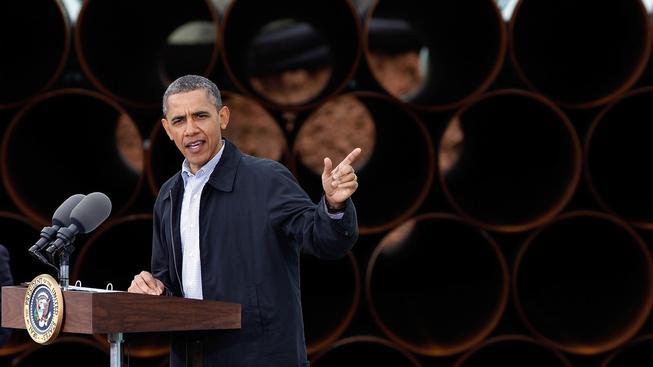 Prezident Barack Obama přednáší projev v jižní části ropovodu Keystone