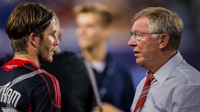 Beckham a Ferguson po skončení exhibičního utkání mezi Manchesterem United a výberem hvězd americké MLS, rok 2011