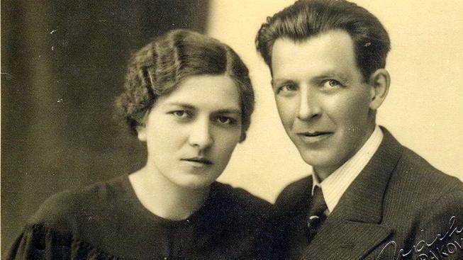 Franěk s manželkou