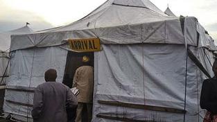 """Příletová """"hala"""" na nigerijském letišti Port Harcourt"""